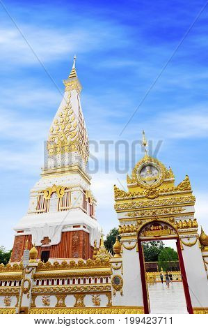 Nakhon Phanom, Thailand - May 2017: Temple Of Phra That Phanom Stupa Containing Buddha's Breast Bone