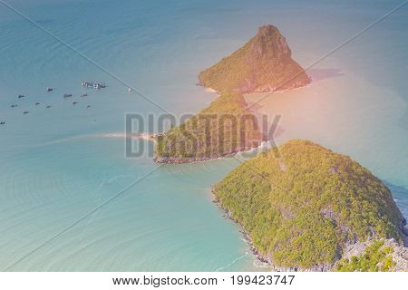 Aerial view small island on the ocean natural seascape background