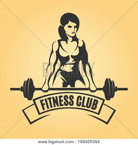 Bodybuilding or Fitness Retro emblem. Athletic Woman Holding Barbell. Vector illustration