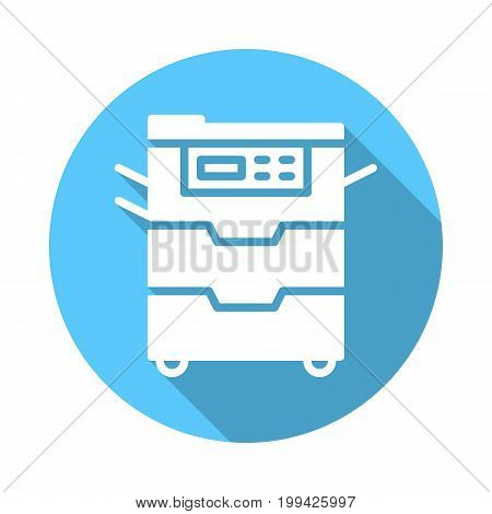 Copy machine flat icon. Round colorful button, Document copier circular vector sign with long shadow effect. Flat style design