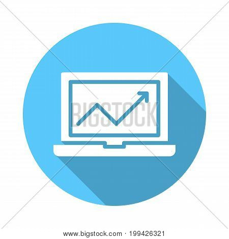 Laptop with chart flat icon. Round colorful button, circular vector sign with long shadow effect. Flat style design