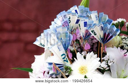 Euro Money. euro cash background. Euro Money Banknotes and flowers bouquet