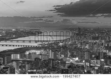Black and White city downtown aerial view Osaka Japan cityscape downtown background
