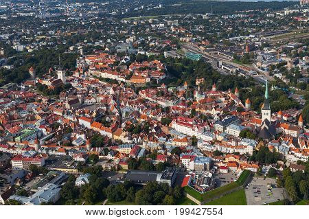 Scenic summer aerial shot of the very Old Town in Tallinn, Estonia