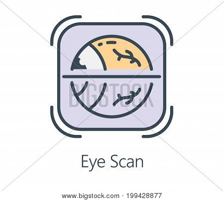 Icon design eye retina scan in flat line style. Symbol about health check and human vision.