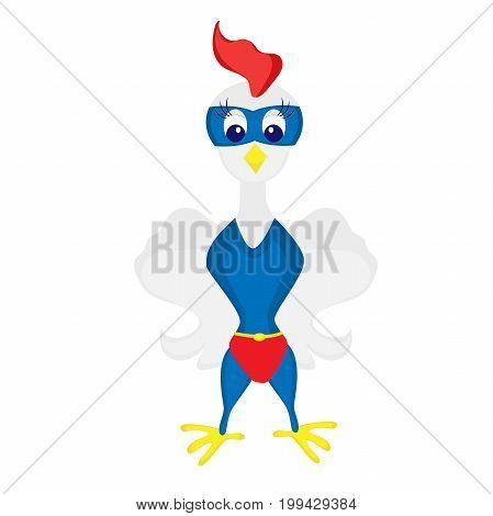 rooster vector. cartoon illustration of super bird. icon