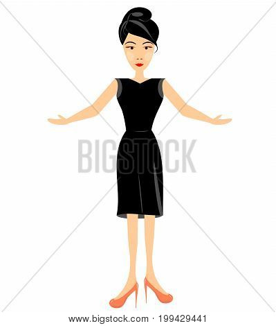 business woman or secretary in black clothes. full-length girl flat vector for advertising special offer presentation editable