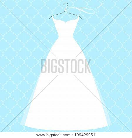 White bridal dress on hanger fashion illustration. Bridal shower wedding stationary decoration.