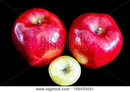 Two big red ripe appetizing apples on black background and one wrinkled green