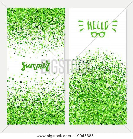 Hello summer vector banners set of scattered green circles for different design. All isolated and layered