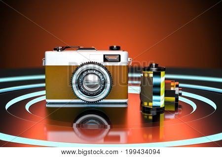3d rendering studio shot of retro vintage camera with roll films on dark metal background with blue light and brown tone.