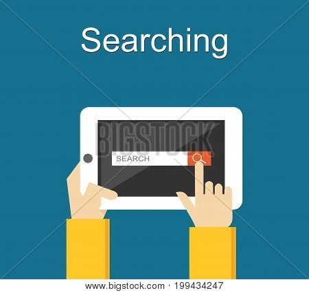 Search form on tablet screen illustration. Search form interface on gadget. Search engine
