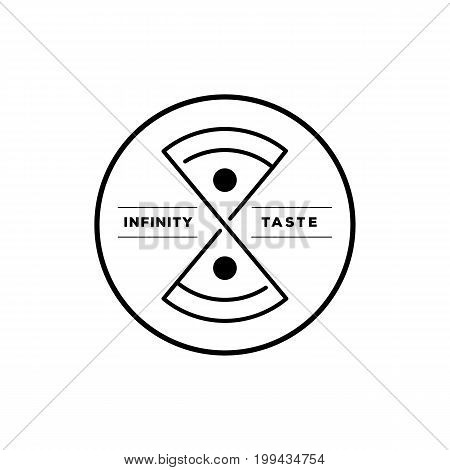 infinity taste Italian pizza round icon design with creative pizza in infinity symbol