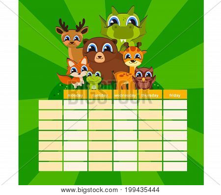 Cute Daily Note Template. Notebook Paper and Stickers Set with Vector Funny Animals Illustrations. Good for Kids. Fun Background. Organizer and Schedule.