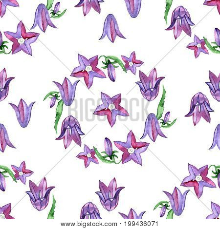 Watercolor seamless pattern with blue bluebells flowers. Rustic floral design for wedding invitations and cards.