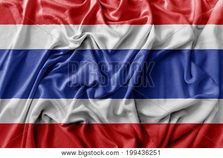 Ruffled waving Thailand flag national flag close