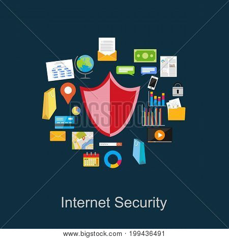 Internet security illustration. Data protection illustration. Secure internet connection