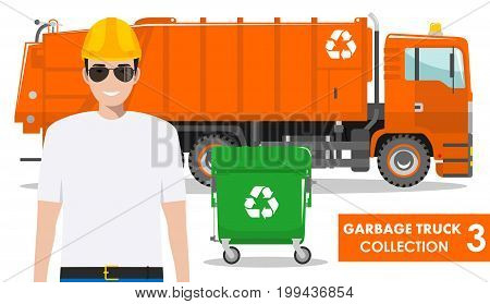 Detailed illustration of garbage man, orange garbage truck and dumpster on white background in flat style.