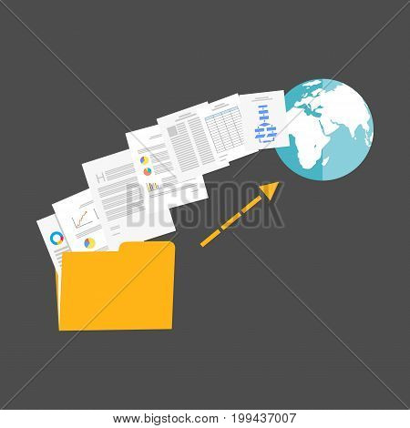 Upload files to internet illustration. File Sharing.