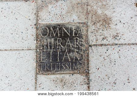An inscription on a stone plate - Omnia mirari etiam tritissima - Find wonder in everything even the most commonplace