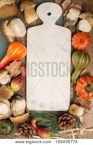 Autumn Dinner Concept - Cutting Board With Fresh Porcini Boletus Oak Muchrooms, High Quality, Ready