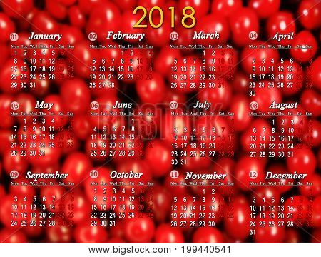 calendar for 2018 on the background of red cherries