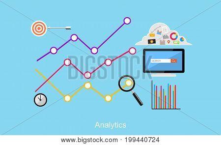 Analytics illustration. Flat design illustration concepts for business statistics. Business target