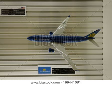 Model Airplane At Haneda Airport In Tokyo, Japan