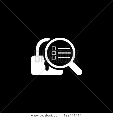 Security Scan Icon. Flat Design. Security concept with a padlock and a magnifying glass. Isolated Illustration. App Symbol or UI element.