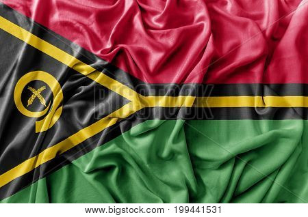 Ruffled waving Vanuatu flag national flag close
