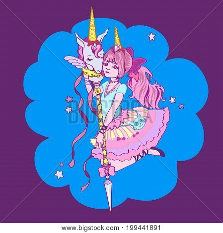 cute magic unicorn and girl. Ready image for greeting card. Beautiful Vector illustration.