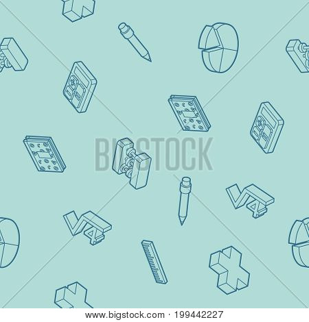 Algebra outline isometric pattern . Mathematical science. Education and scientific icons set.