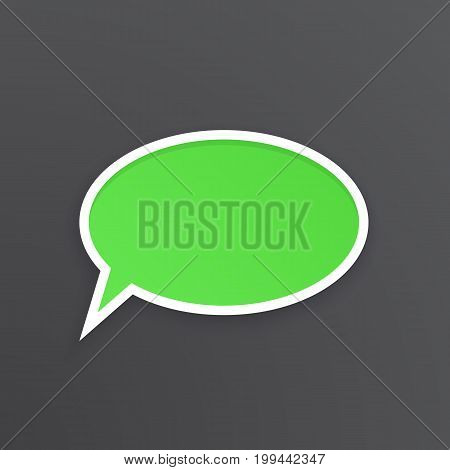 Vector illustration. Green comic speech bubble for talk at oval shape with white contour. Empty shape in flat style for chat dialogs. Isolated on black background