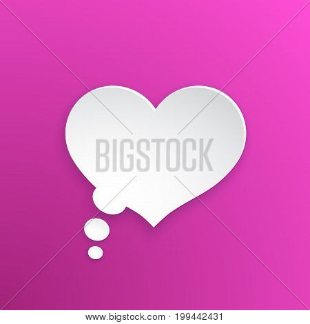 Vector illustration. Comic speech bubble for thoughts at heart shape in paper version. Empty shape in flat style for chat dialogs. Isolated on pink background