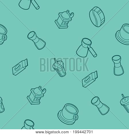 Coffee outline isometric pattern. Coffee design. Vector illustration, EPS 10