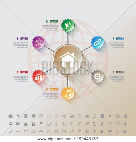 Design template: Modern Infographic complement template with 7 Button circles and set of icons