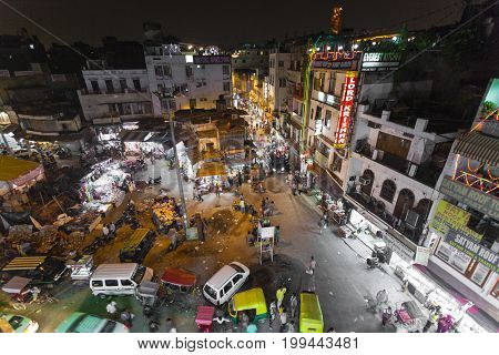 New Delhi, India - December 12, 2016: Busy Indian Street Market In New Delhi, India.