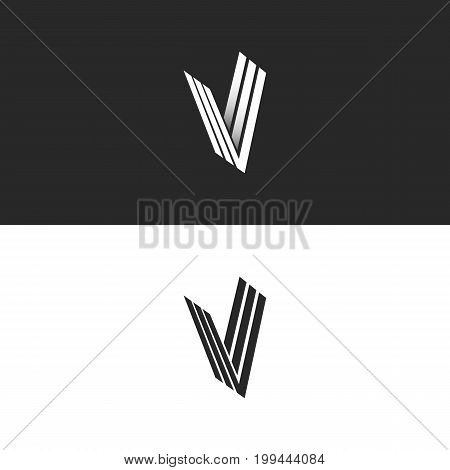 Letter V logo isometric monogram simple symbol, minimal perspective style hipster emblem initials VVV offset lines creative Idea icon