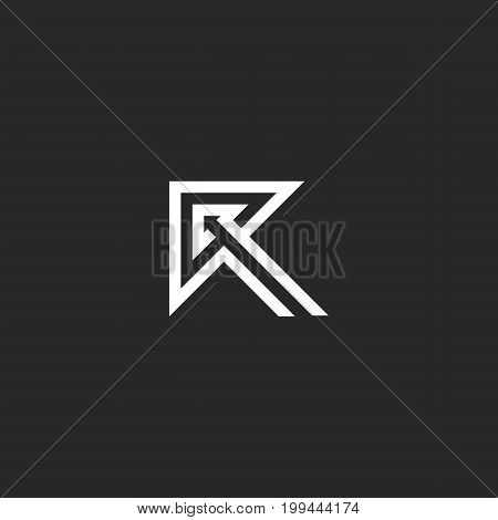 Logo R letter idea direction arrow shape, black and white creative monogram thin lines style, typography design element template