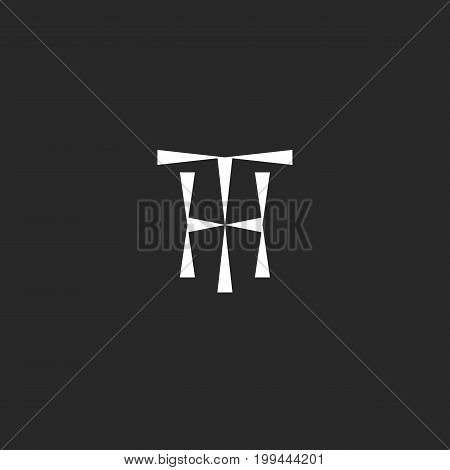 Hipster Initials TH logo mockup from triangles geometric shape, combination two letters T H together thin line black and white style, HT combination capital wedding invitation emblem