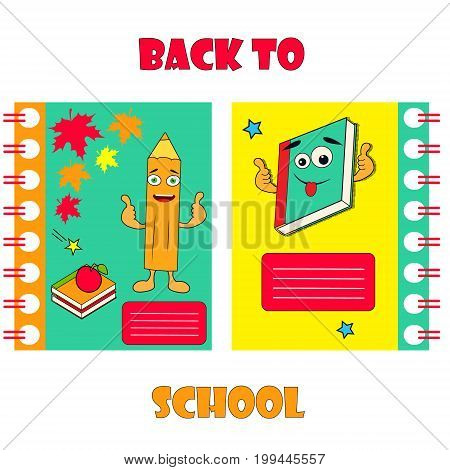 Set of notebook covers with funny pencils and backpack