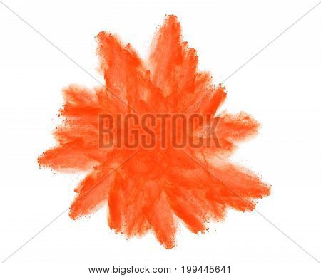 Orange colorful powder splash explosion isolated on white background.