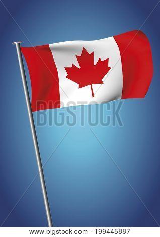 Canada Flag Waving On The Sky Vector