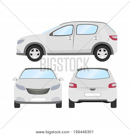 Car vector template on white background. Business hatchback isolated. white hatchback flat style. front side back view.