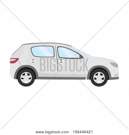 Car vector template on white background. Business hatchback isolated. white hatchback flat style. side view.