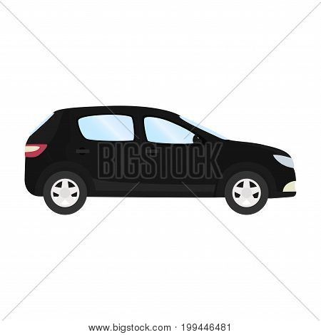 Car vector template on white background. Business hatchback isolated. black hatchback flat style. side view.