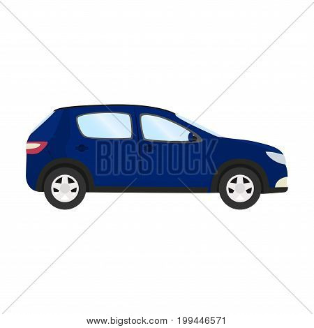 Car vector template on white background. Business hatchback isolated. blue hatchback flat style. side view.