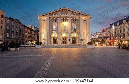 Wyspianski Theatre on the central square of Katowice. Poland. Europe.
