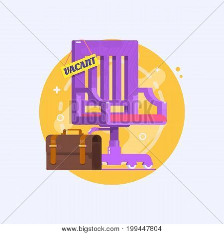 Concept of business hiring and recruiting. Composition with office chair and a sign vacant. Flat vector illustration