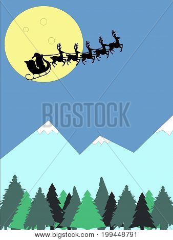 Illustration of Santa Claus with deer on the background of the night